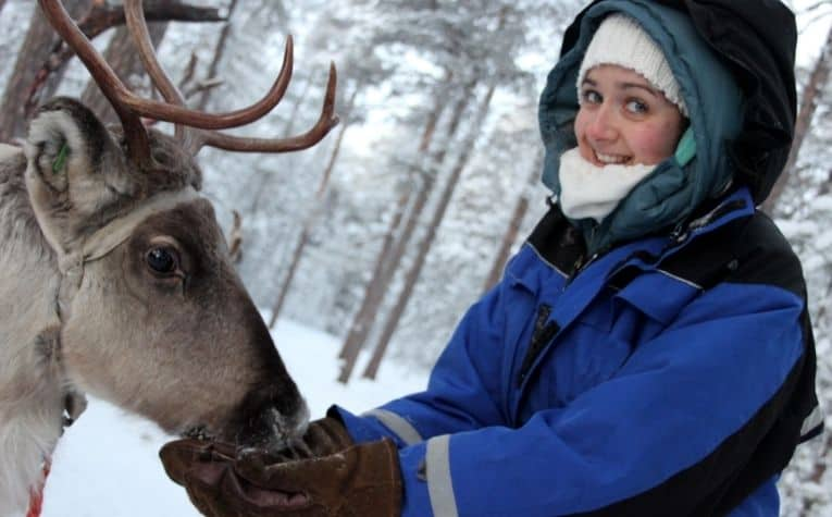 Woman feeding reindeer in Norway