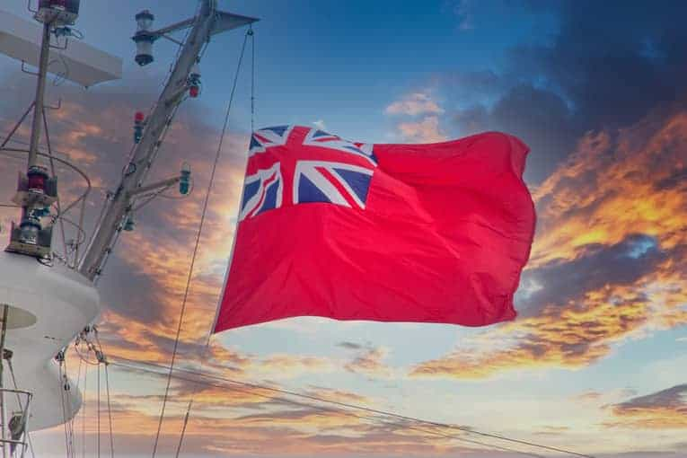 British flag on navy ship