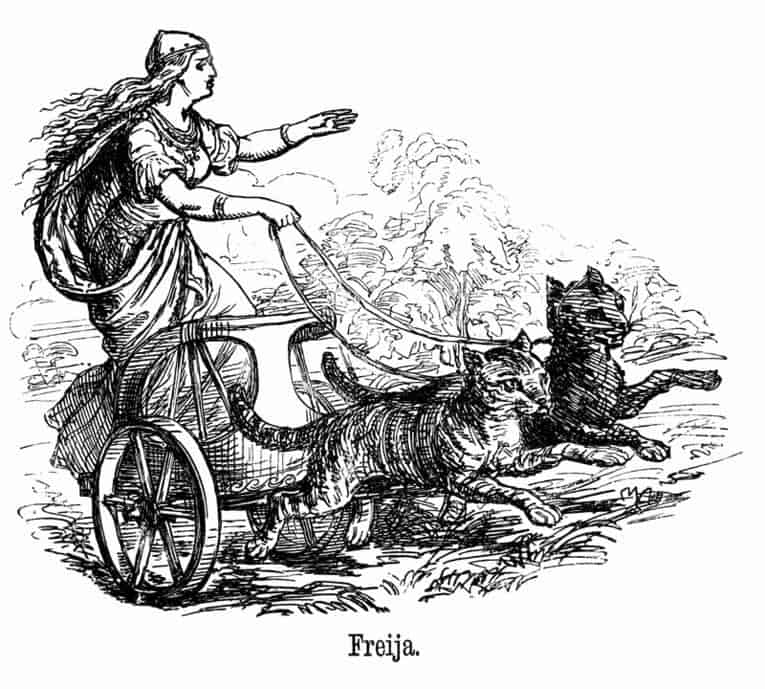 Freyya, Norse goddess riding on a chariot