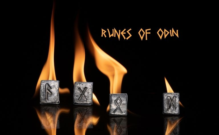 Norse god Odin rune stones