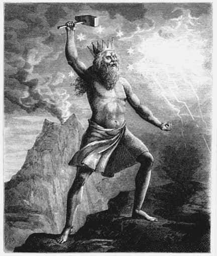 Thor god of thunder holding his hammer