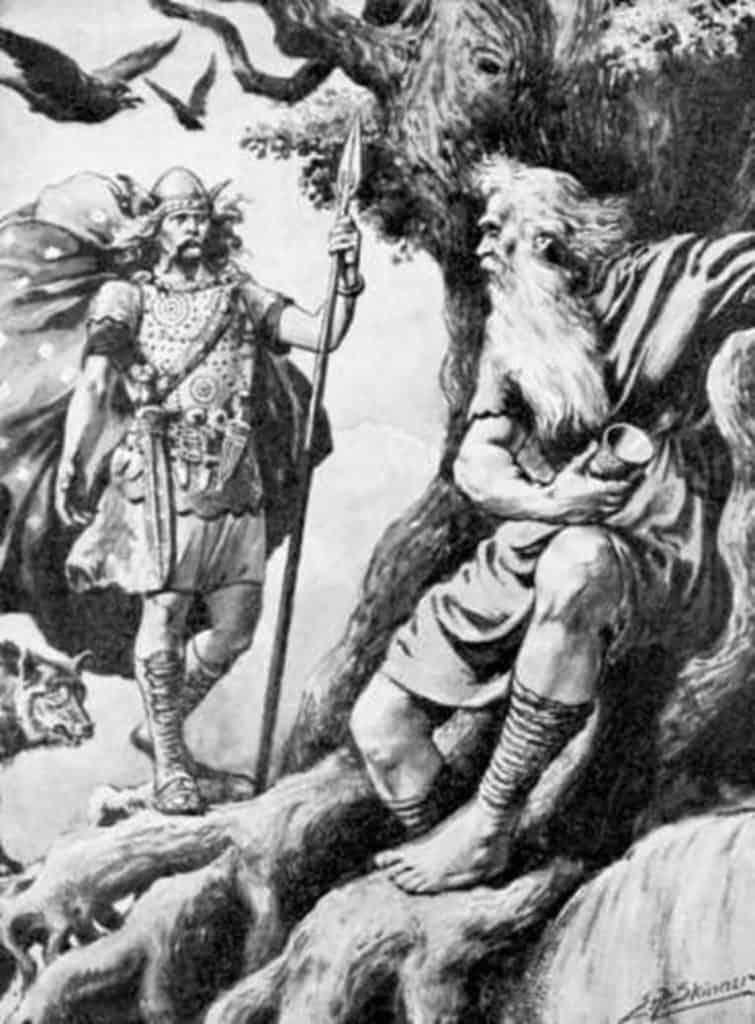 Norse gods Odin Mimir