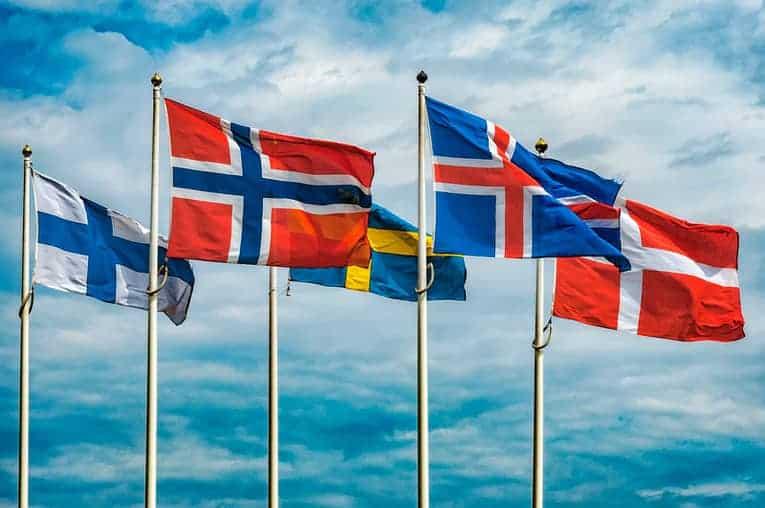Norway, Denmark, Sweden, Finland, Iceland flags