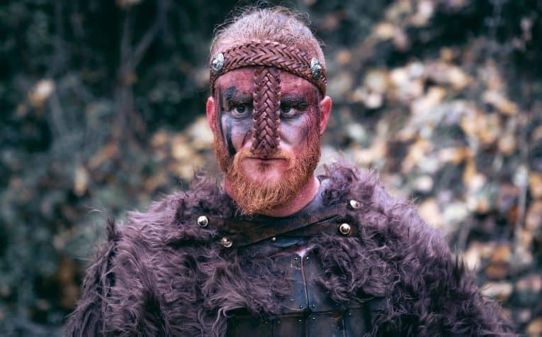 Viking man black face paint