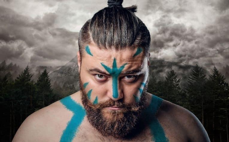 Viking man blue face paint
