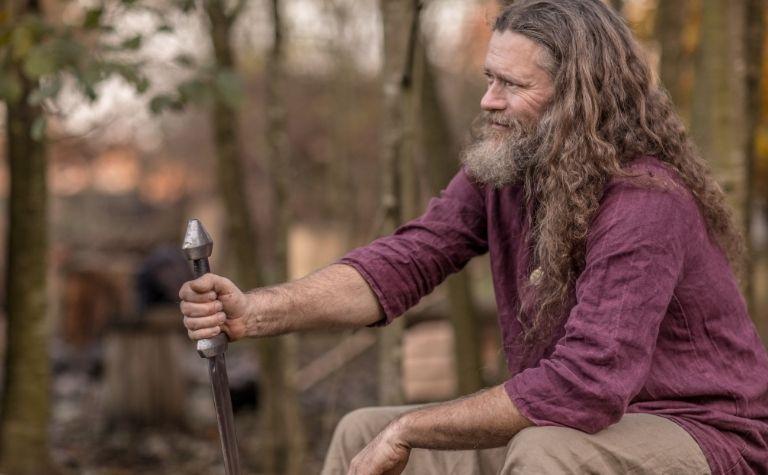 Viking man with long hair