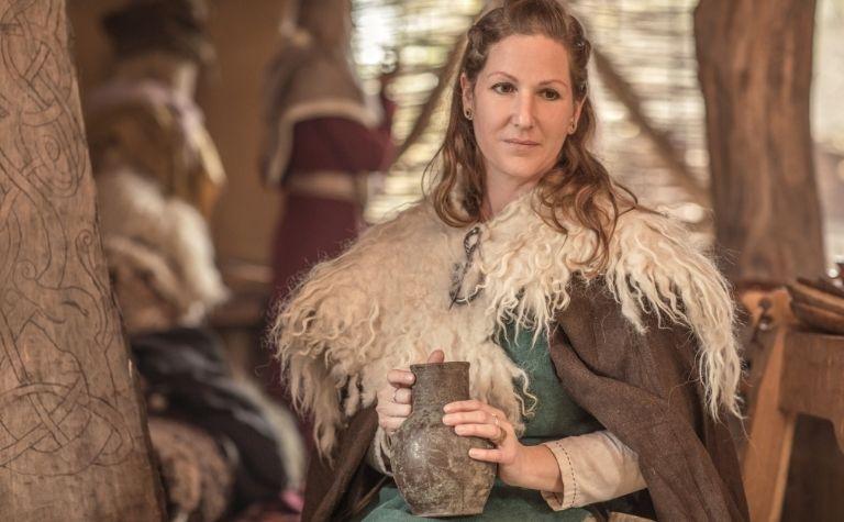 Viking woman with long brown hair
