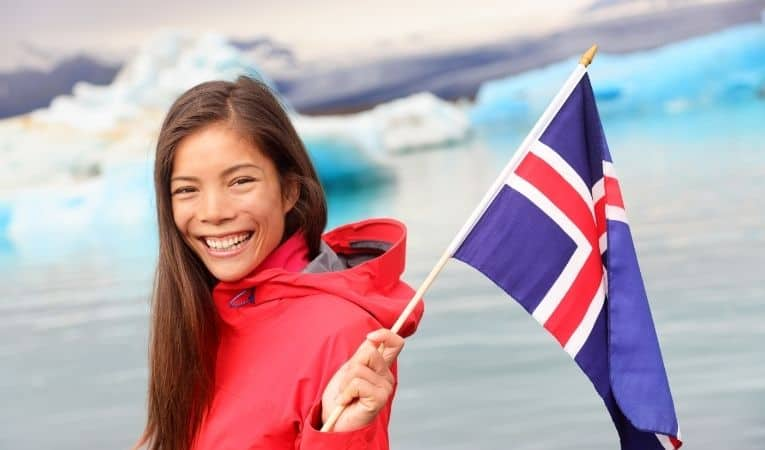 Woman with Icelandic flag