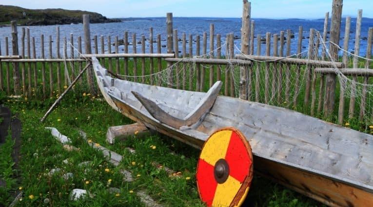 Viking boat and shield