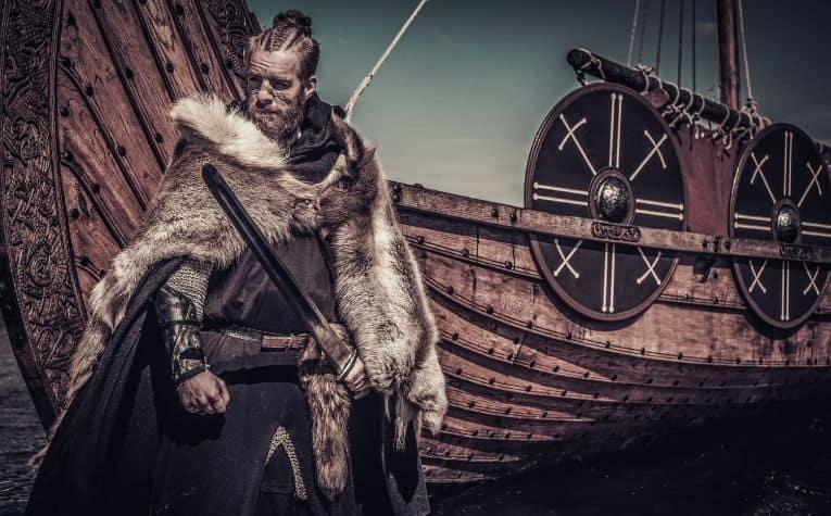 Viking wearing animal skin
