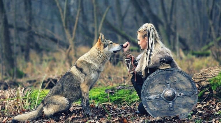 Viking woman with a shield