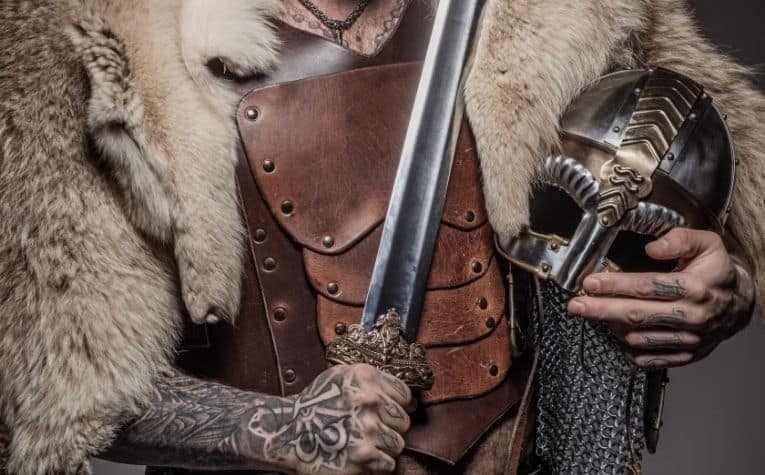 Viking warrior with arm tattoos