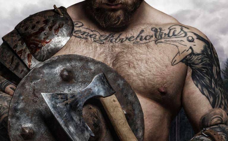 Viking man with tattoos
