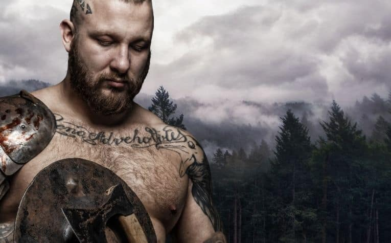 Viking man with tattoos on his chest