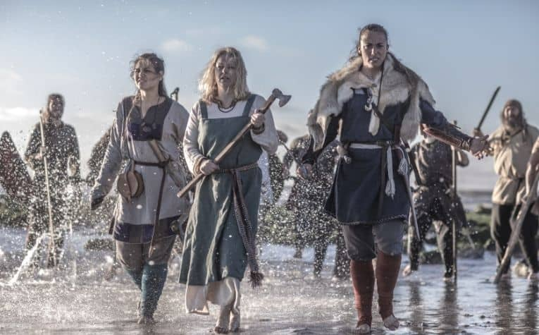 Viking women with weapons