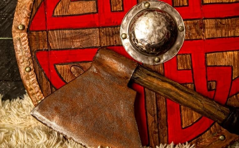 Viking axe and shield