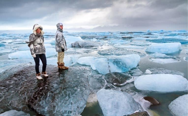 Iceland people hiking