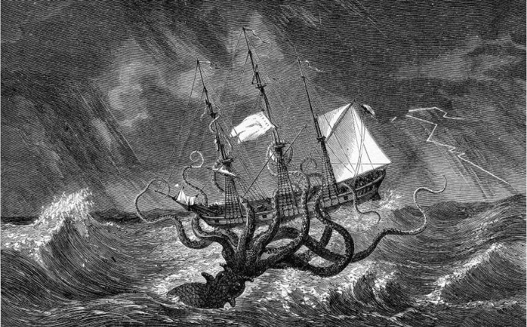 Kraken attacks ship