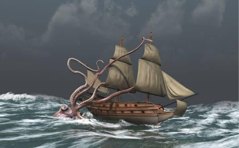 Kraen attacking a ship