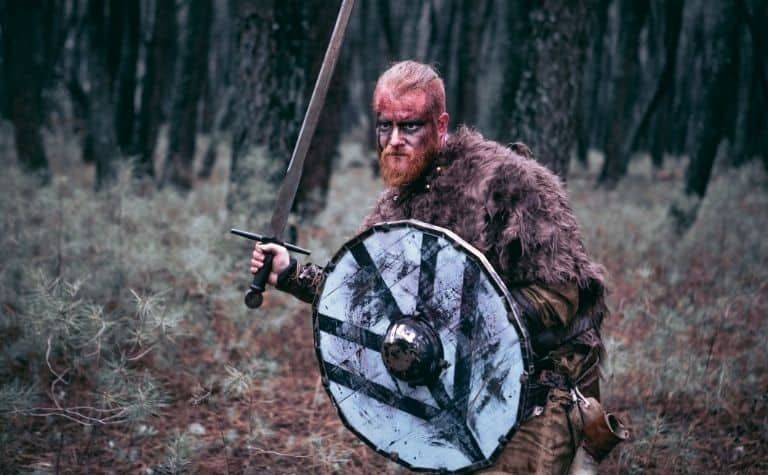 Viking man with sword and shield