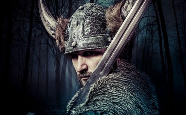 Viking helmet and sword