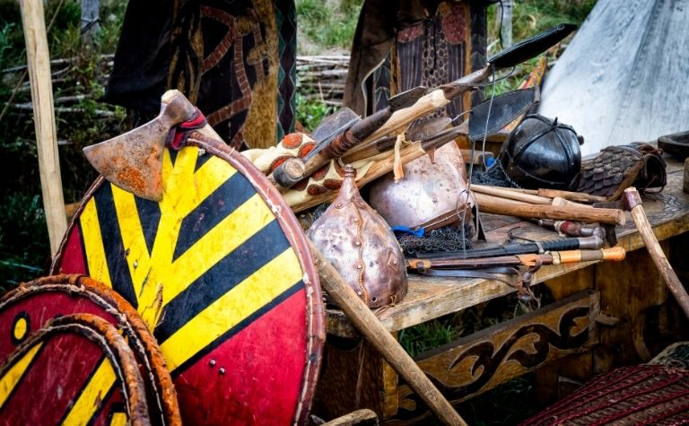 Viking weapons axes swords knives shields