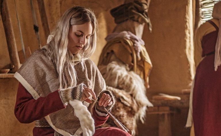Viking woman sewing