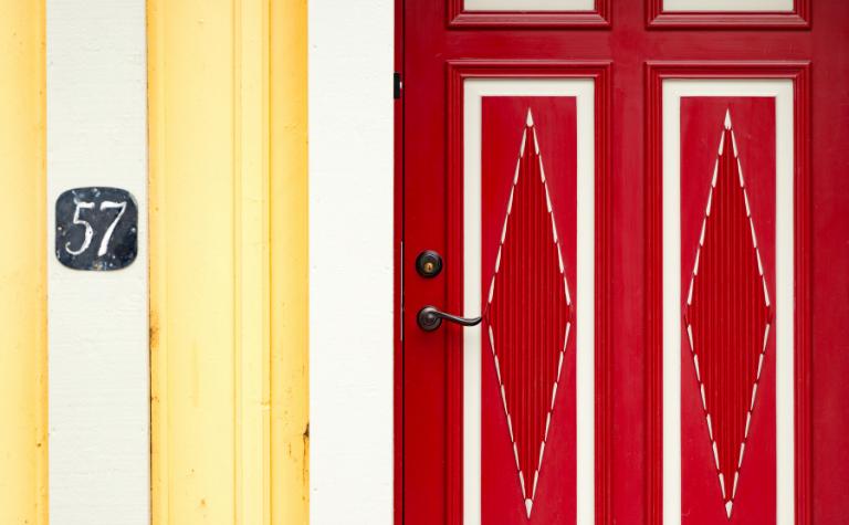 Sweden red door opens outward