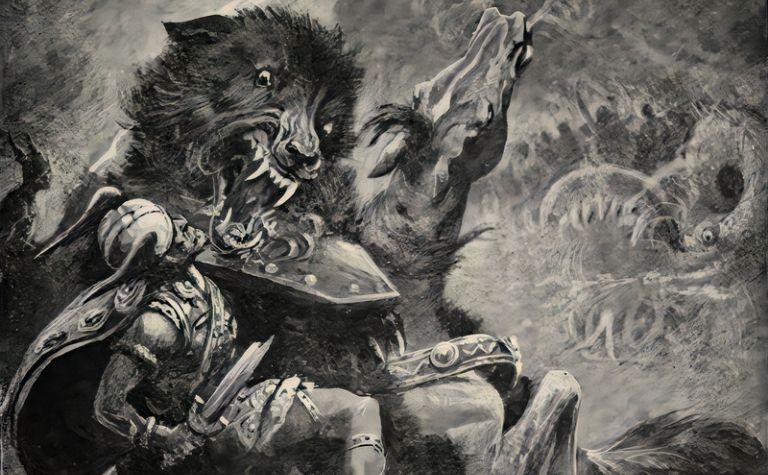 Norse god Odin fights Fenrir